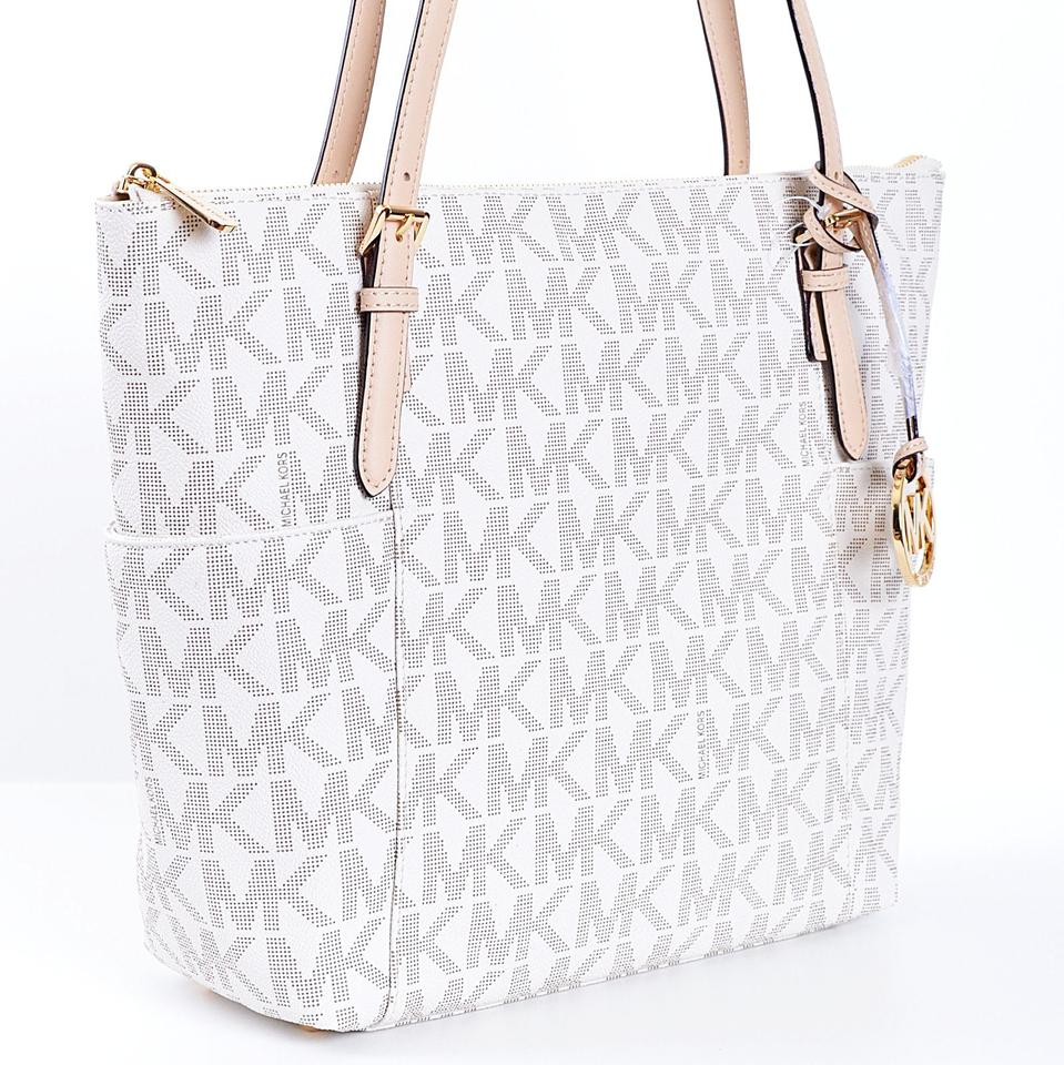 e80651fd55c0 Michael Kors Jet Set Item Signature Top Zip Tote A3411f Vanilla Logo ...