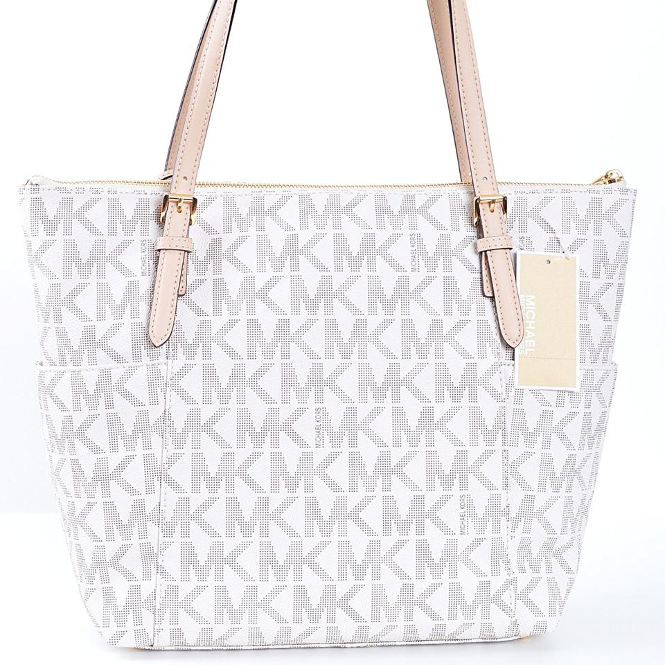 36beb60a7e5b Michael Kors Jet Set Item Signature Top Zip Tote A3411f Vanilla Logo Pvc Shoulder  Bag - Tradesy