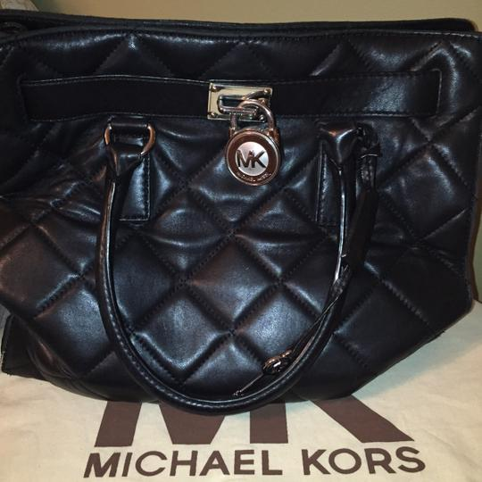 Michael Kors Leather Quilted Hermes Satchel in Black
