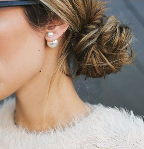 Three Pairs--new Double Sided Pearl Stud Earrings (dior Dupes)