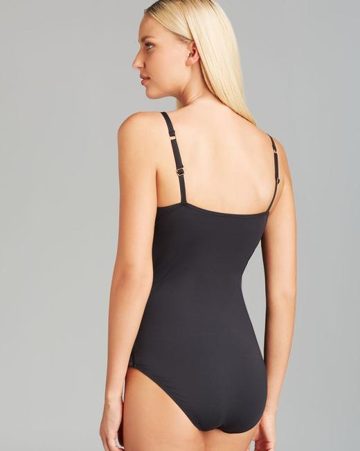 Tommy Bahama Tommy Bahama Black Pearl Solids V Neck One Piece Swimsuit Bathing Suit Size 4 (Small)
