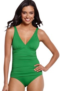 Tommy Bahama Tommy Bahama Palm Green Pearl Solids V Neck One Piece Swimsuit Bathing Suit Size 4 (Small)