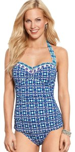 Tommy Bahama Tommy Bahama Kaleidoscope V Front Halter One-Piece Swimsuit in Blue Size 6