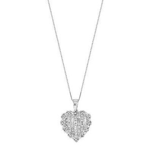 14k White Gold 0.75 Cttw Diamonds Heart Pendant Womens Necklace