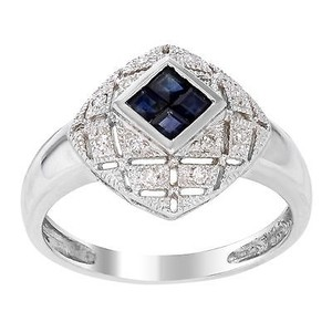 14k White Gold 0.5 Cttw Sapphire 0.15 Cttw Diamonds Vintage Style Womens Ring