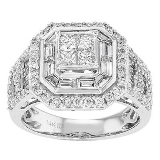 Other 14k White Gold Cttw Round Baguette Cut Diamonds Pave Ring