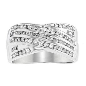 14k White Gold 0.75 Cttw Diamonds Criss Cross Unisex Wide Band Ring