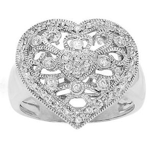 14k White Gold 0.50 Cttw Diamond Vintage Style Heart-shaped Womens Ring