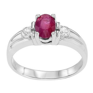 14k White Gold 0.71 Cttw Ruby 0.08 Cttw Diamonds Womens Cocktail Ring