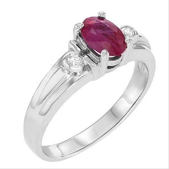 Other 14k White Gold 0.71 Cttw Ruby 0.08 Cttw Diamonds Womens Cocktail Ring