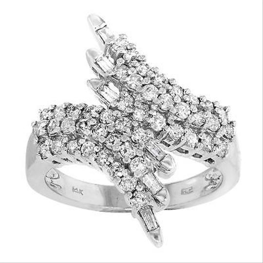 Other 14k White Gold 1 Cttw Diamonds Three Row Wing Womens Cocktail Ring