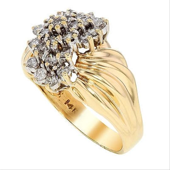 Other 14k Yellow Gold 1 Cttw Diamonds Cluster Wavy Womens Cocktail Ring