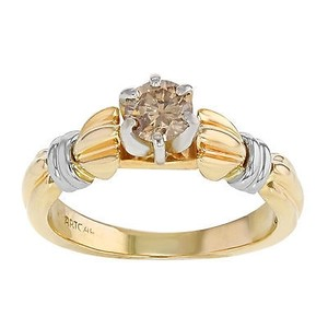 14k Yellow White Gold 0.20 Ct Cognac Diamond Engagement Womens Ring