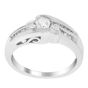 Other 14k White Gold 0.75 Cttw Round Baguette Cut Diamonds Engagement Womens Ring