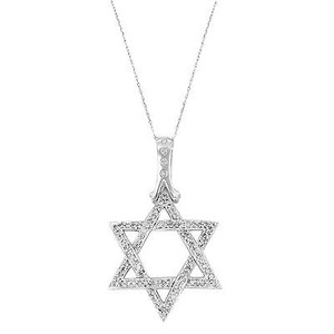 14k White Gold 0.75 Cttw Diamonds Star Of David Pendant Womens Necklace