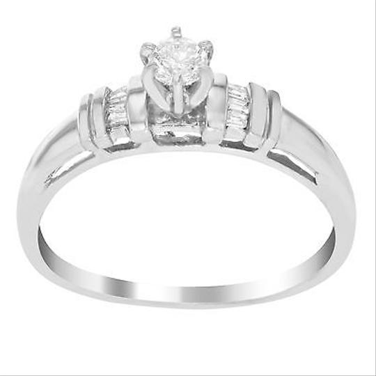 Other 14k White Gold 0.25 Cttw Round Baguette Cut Diamonds Engagement Womens Ring