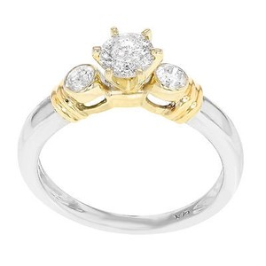 Other 14k White Yellow Gold 0.81 Cttw Round Cut Diamonds Engagement Womens Ring