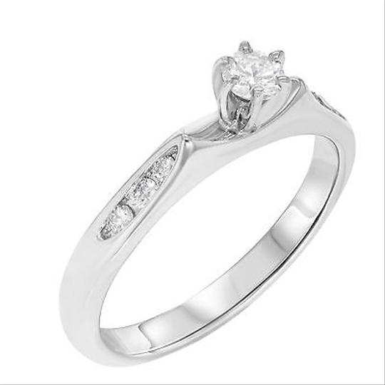Other 14k White Gold 0.25 Cttw Diamonds Womens Solitaire With Accents Band Ring