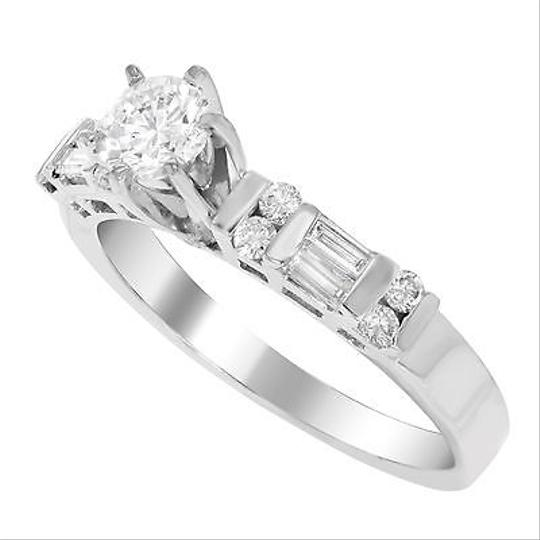 Other 14k White Gold 0.58 Cttw Round Baguette Cut Diamond Womens Engagement Ring