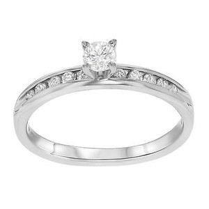 14k White Gold 0.5 Cttw Round Cut Diamonds Womens Engagement Ring