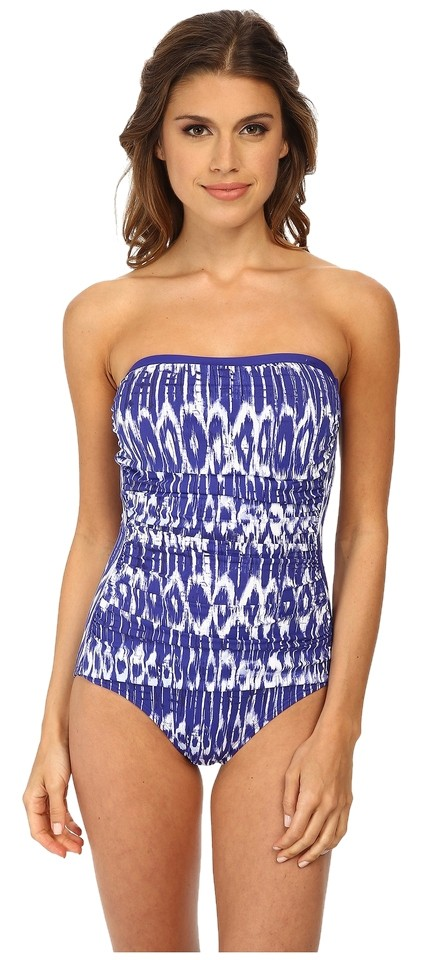 5226a784aed Tommy Bahama Blue Tie-dye Bandeau Swimsuit One-piece Bathing Suit ...