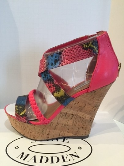 Steve Madden Sandals Strappy Corkwedge Multi color with pink Wedges