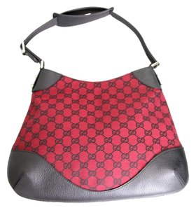 Gucci Gg Canvas Hobo Handbag Red Shoulder Bag