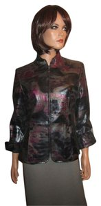 Pamela McCoy Black Silver Magenta Leather Jacket