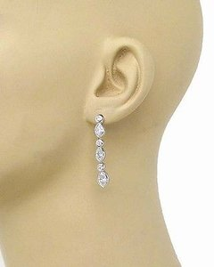 Other Estate Platinum 3.80ctw Marquise Round Cut Diamond Drop Dangle Earrings