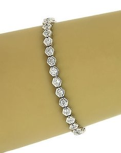 14k White Gold Carats Diamonds Ladies Trendy Tennis Bracelet