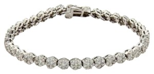 Other 14k White Gold 5.25ct Diamonds Rosette Link Tennis Bracelet
