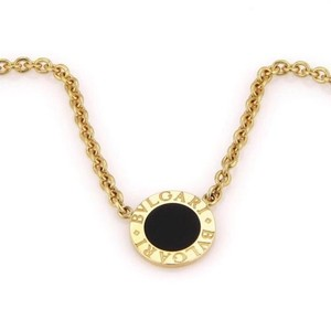 BVLGARI Bvlgari Bulgari 18k Yellow Gold Circular Onyx Pendant Necklace