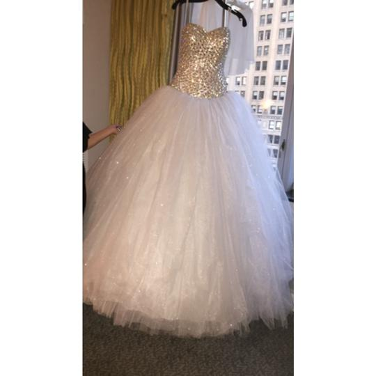 Ivory Crystals and Tulle Modern Wedding Dress Size OS (one size)