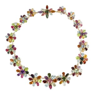 Other Estate 18k Yellow Gold 220ct Multi Color Gemstone Flower Link Necklace
