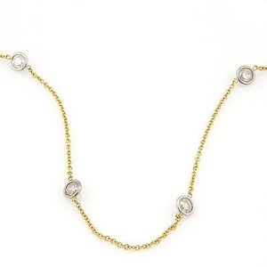 14k Yellow White Gold 4.48ct Diamonds By The Yard Necklace