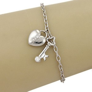 Tiffany & Co. Tiffany Co. Platinum Diamond Heart Lock And Key Charm Bracelet