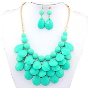 New Turquoise Bubble Necklace & Earring Set