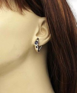 Other 18k White Yellow Gold 2.3ctw Diamond Sapphire Huggie Earrings