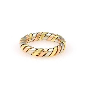 BVLGARI Bvlgari Bulgari 18k Tri Color Gold Tubogas 4.5mm Band Ring- 6.75