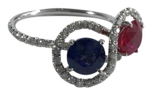 Platinum 2.35ctw Diamond Ruby Sapphire Fancy Cocktail Ring