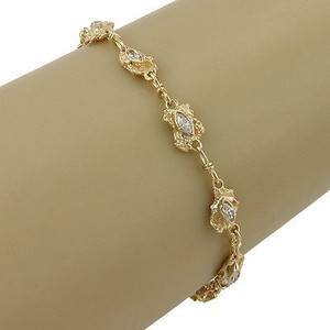 Estate 18k Yg Gold Nugget Link Bracelet With Diamonds