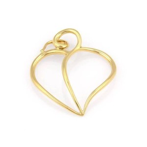 Tiffany & Co. Tiffany Co. Paloma Picasso 18k Yellow Gold Open Leaf Heart Wire Pendant