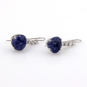Estate 14k White Gold 17ct Carved Sapphire Diamond Dangle Earrings