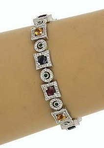 Other Estate 14k White Gold 8.75ctw Diamond Multi-color Gemstone Fancy Link Bracelet
