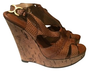 Chloé Python Snakeskin Cork Light brown Wedges