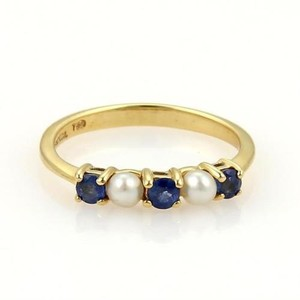 Tiffany & Co. Tiffany Co. 18k Yellow Gold Prong Set Sapphire Seed Pearls Band Ring