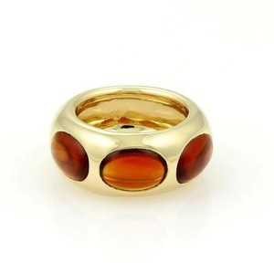 Pomellato Pomellato 18k Yellow Gold 5ctw Oval Shape Garnet Dome 11mm Wide Band Ring