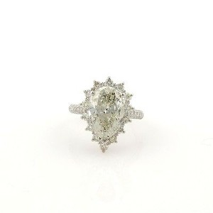 14k White Gold 6.13ct Pear Shape Diamond Solitaire Ring