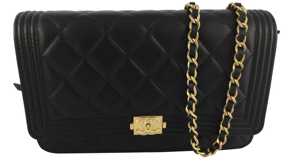 80d2c39519eb Chanel Wallet on Chain Boy Quilted Le Black Lambskin Leather Cross ...