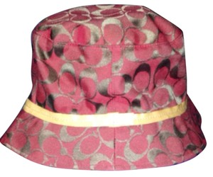 Coach Signature Coach Red And Brown Bucket Hat